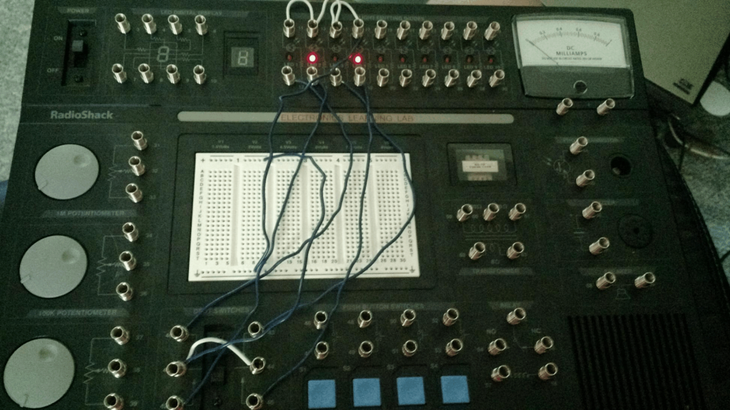 Here's what the circuit looked like on the electronics kit. The wires look a little disorganized, but it does the job.