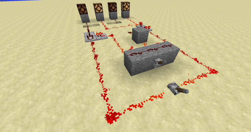 The switch in front is the main power switch. The one on the stone block is is the DPDT switch.